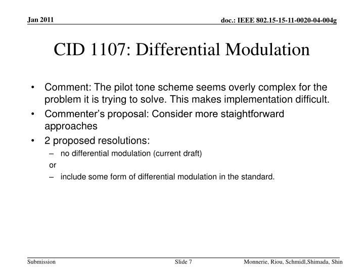 CID 1107: Differential Modulation