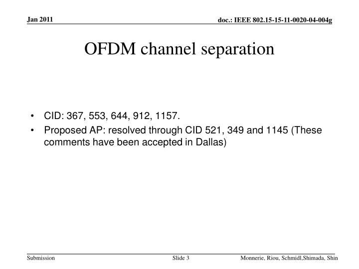 Ofdm channel separation