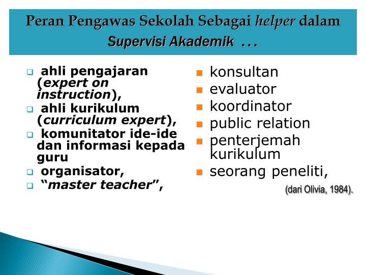 Peran Pengawas Sekolah Sebagai