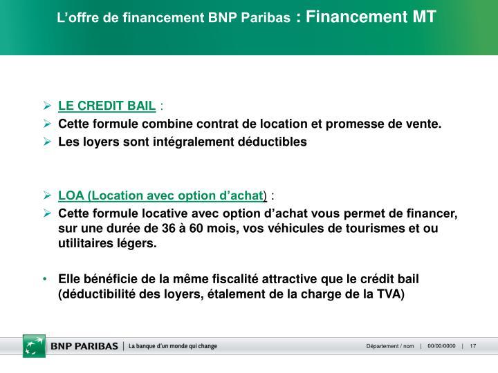 L'offre de financement BNP Paribas