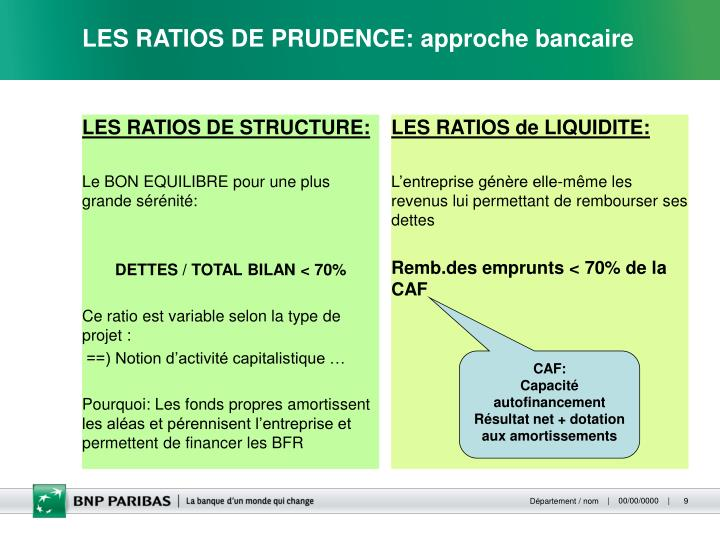 LES RATIOS DE STRUCTURE: