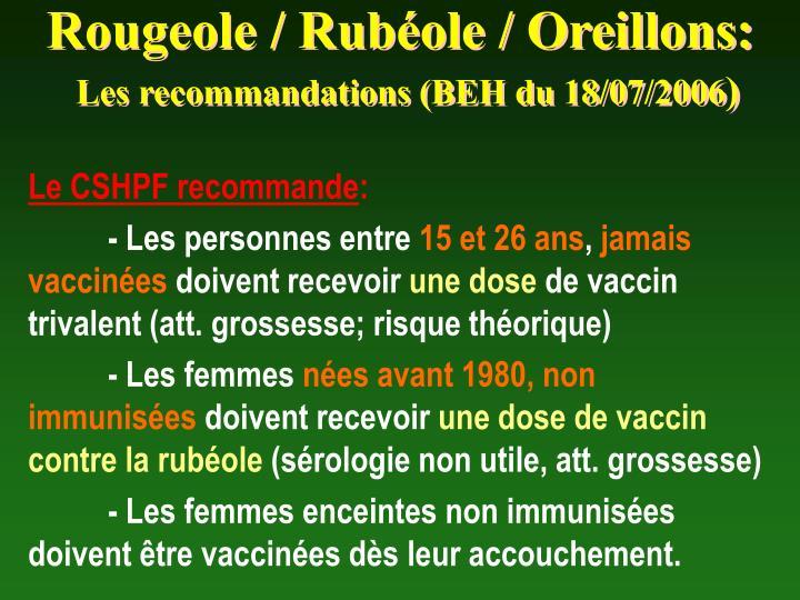 Rougeole / Rubéole / Oreillons: