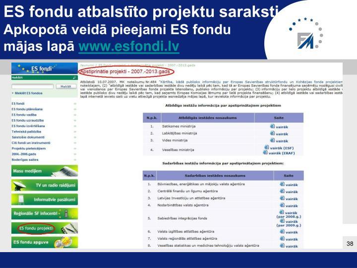 ES fondu atbalstīto projektu saraksti