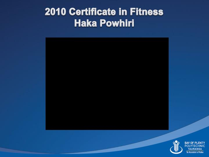 2010 Certificate in Fitness