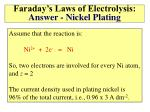 faraday s laws of electrolysis answer nickel plating