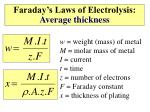 faraday s laws of electrolysis average thickness