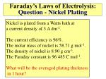 faraday s laws of electrolysis question nickel plating
