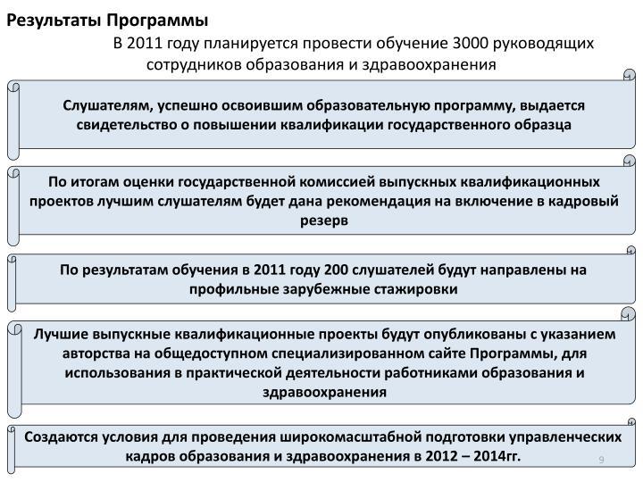 В 2011 году планируется провести обучение 3000 руководящих сотрудников образования и здравоохранения