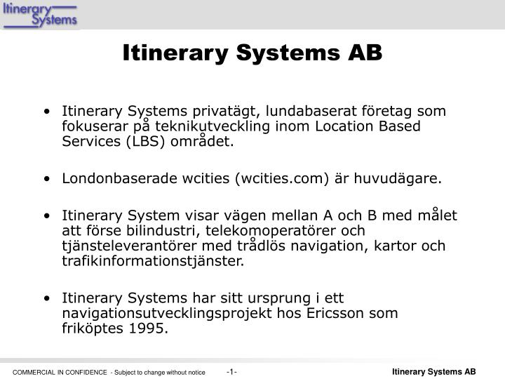 itinerary systems ab
