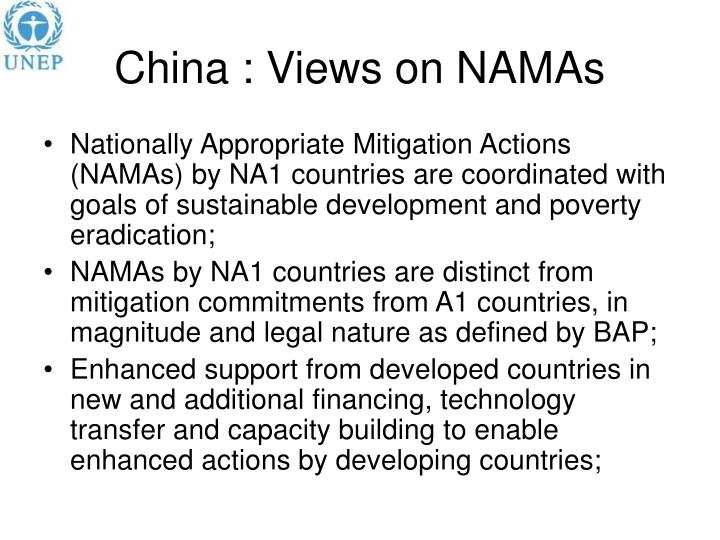 China : Views on NAMAs