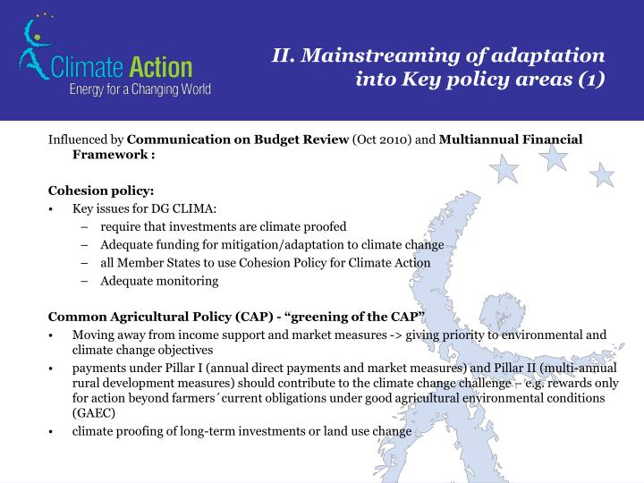 II. Mainstreaming of adaptation into Key policy areas (1)