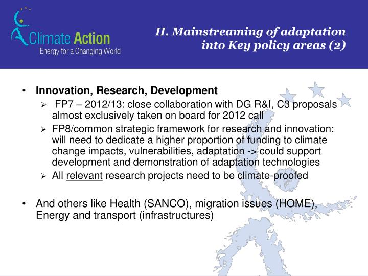 II. Mainstreaming of adaptation into Key policy areas (2)