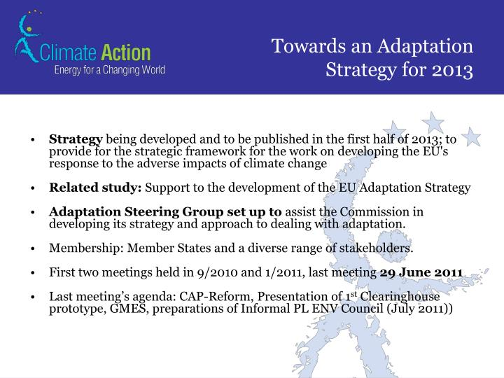 Towards an Adaptation Strategy for 2013