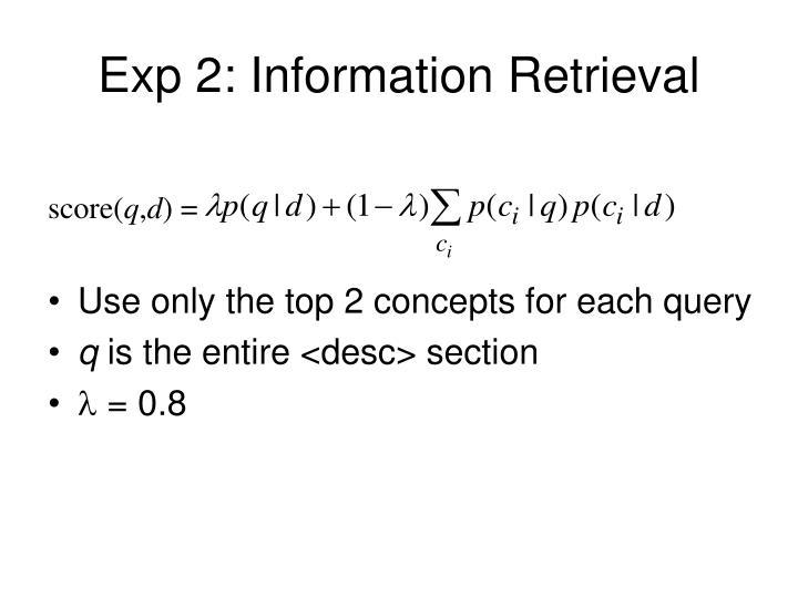 Exp 2: Information Retrieval