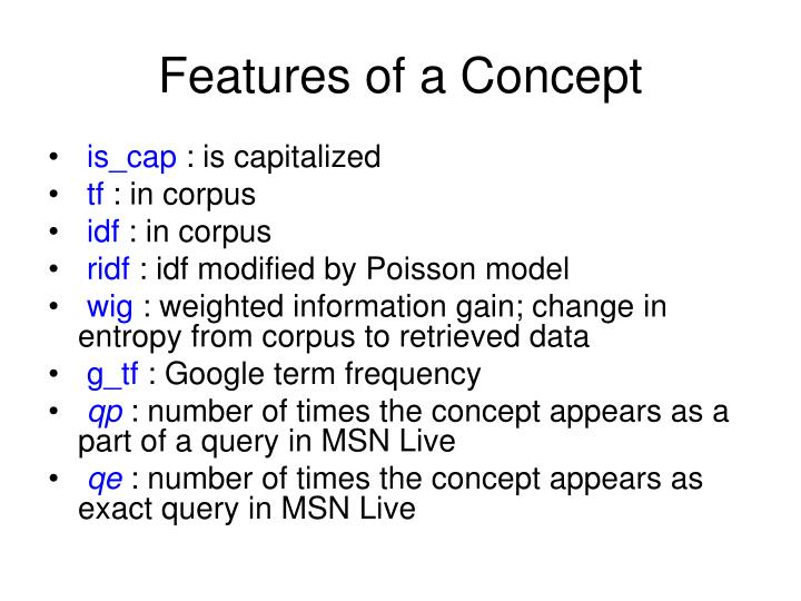 Features of a Concept
