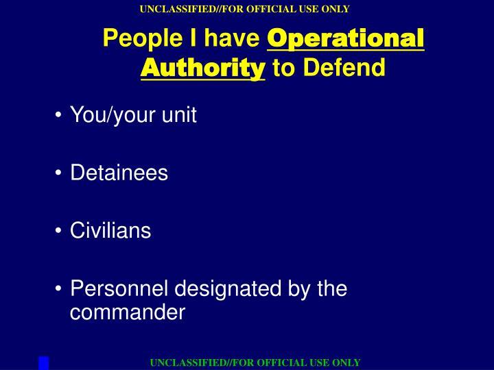 You/your unit