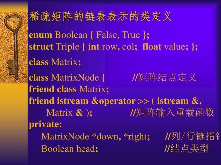 稀疏矩阵的链表表示的类定义