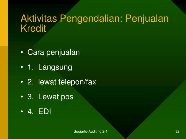Aktivitas Pengendalian: Penjualan Kredit