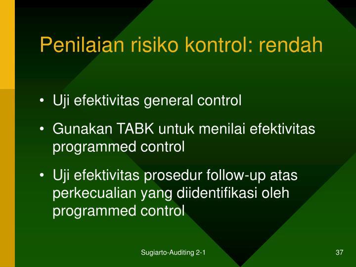 Penilaian risiko kontrol: rendah