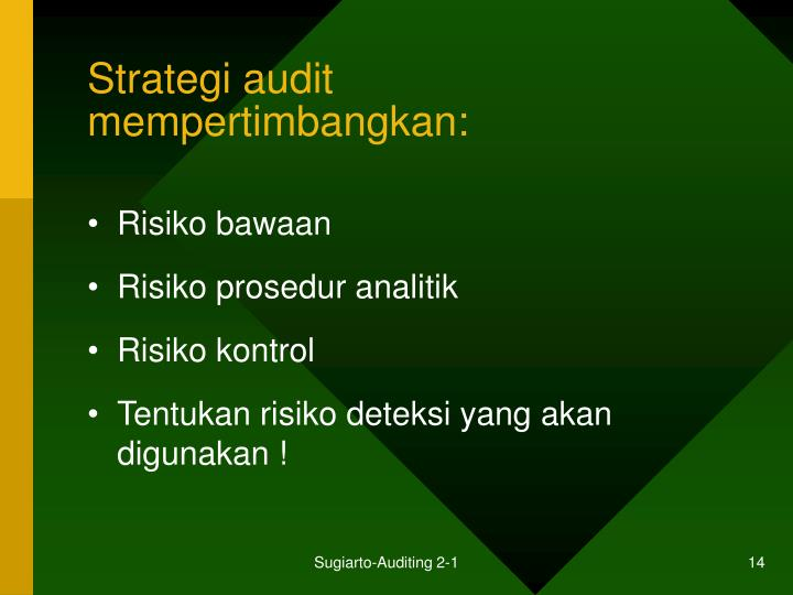 Strategi audit mempertimbangkan: