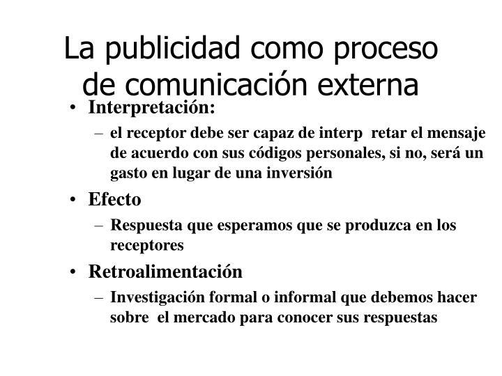 La publicidad como proceso de comunicación externa