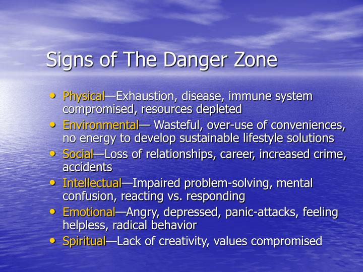 Signs of The Danger Zone