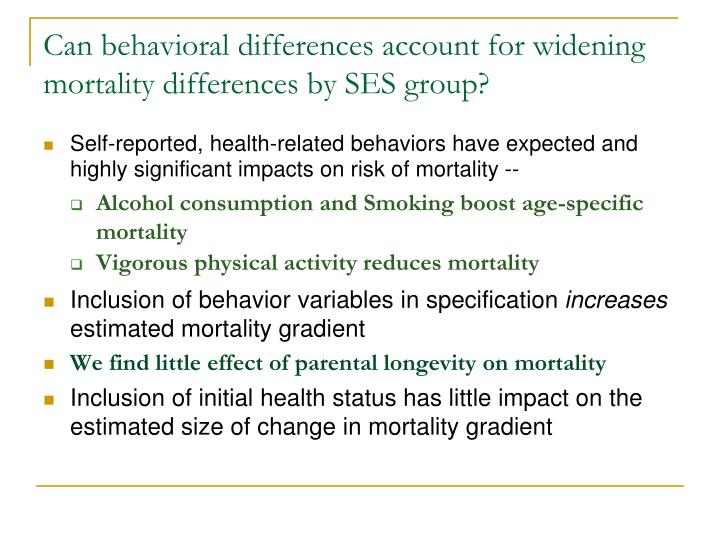 Can behavioral differences account for widening mortality differences by SES group?
