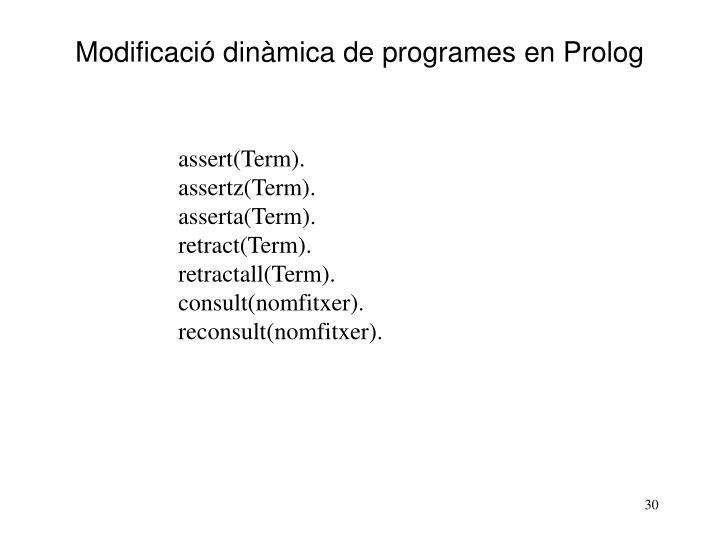 Modificació dinàmica de programes en Prolog
