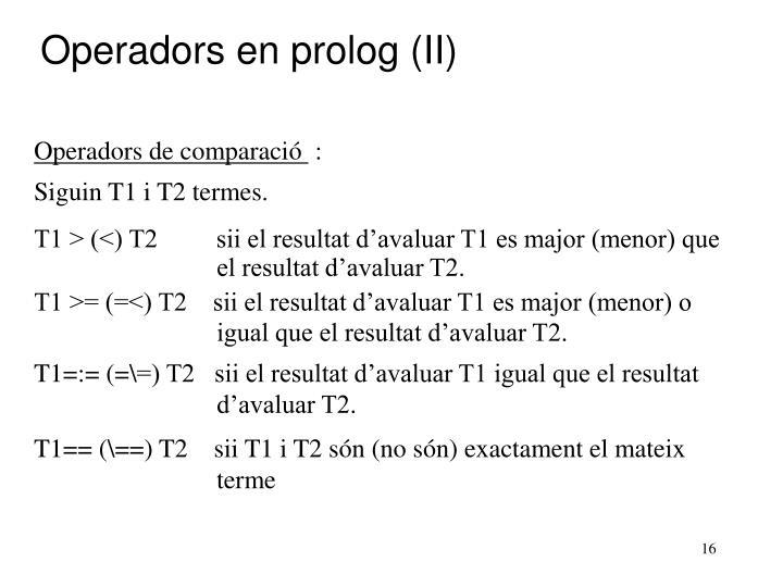 Operadors en prolog (II)