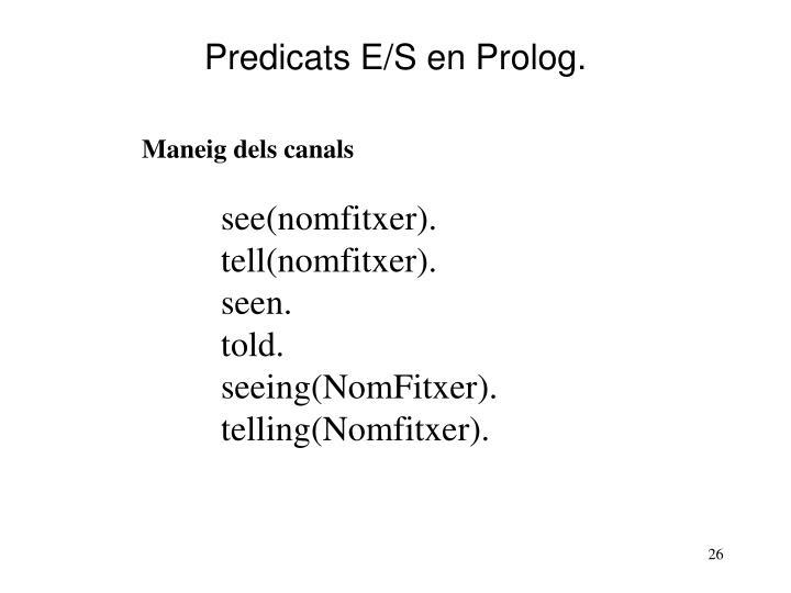 Predicats E/S en Prolog.