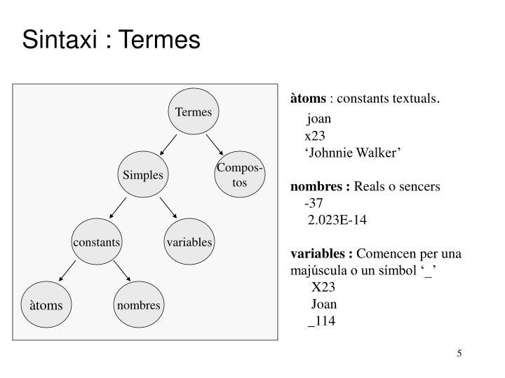 Sintaxi : Termes