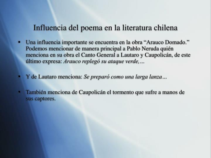 Influencia del poema en la literatura chilena