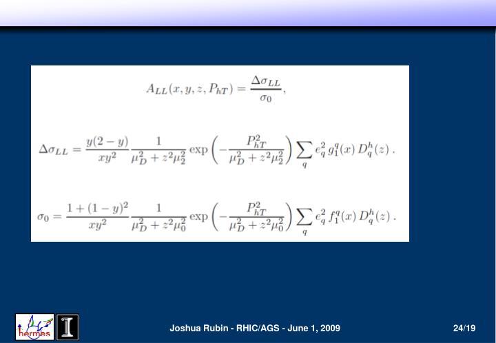 Joshua Rubin - RHIC/AGS - June 1, 2009