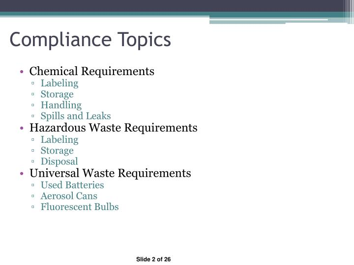 Compliance Topics