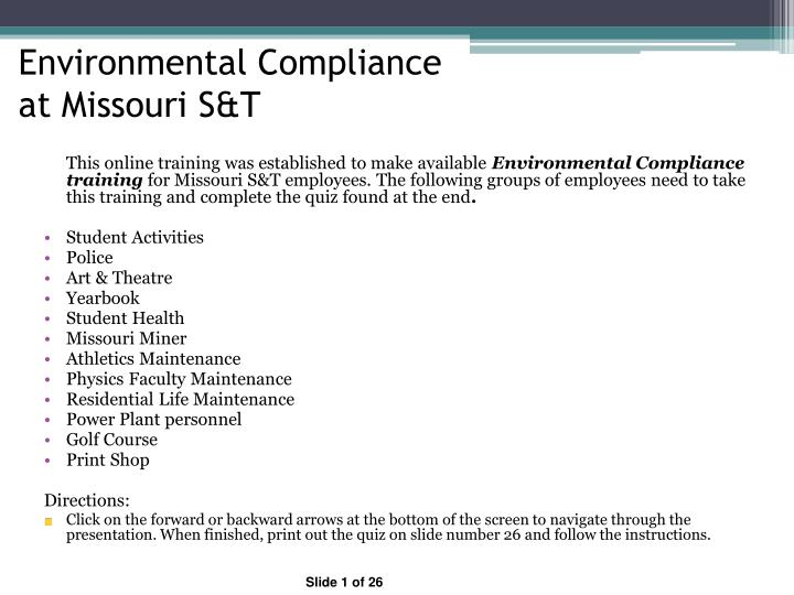 Environmental compliance at missouri s t