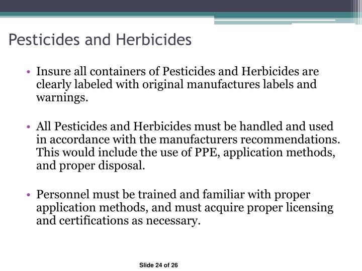 Pesticides and Herbicides
