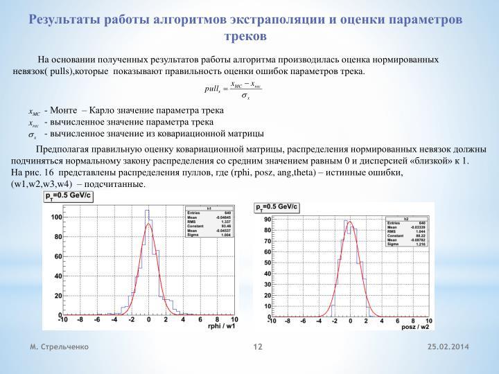 Результаты работы алгоритмов экстраполяции и оценки параметров треков
