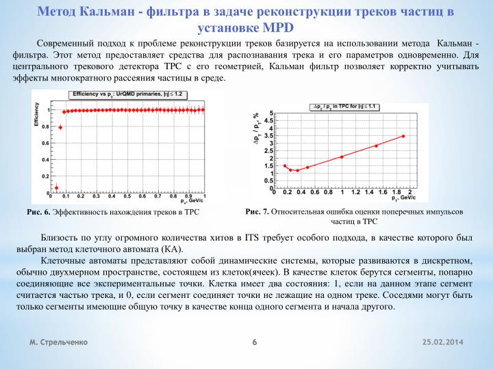 Метод Кальман - фильтра в задаче реконструкции треков частиц в установке