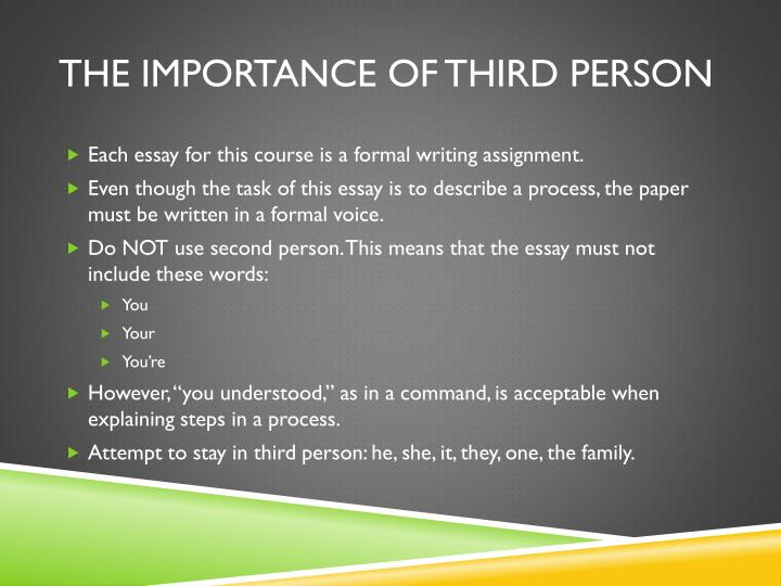 write an essay in third person