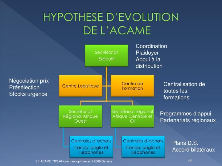 HYPOTHESE D'EVOLUTION