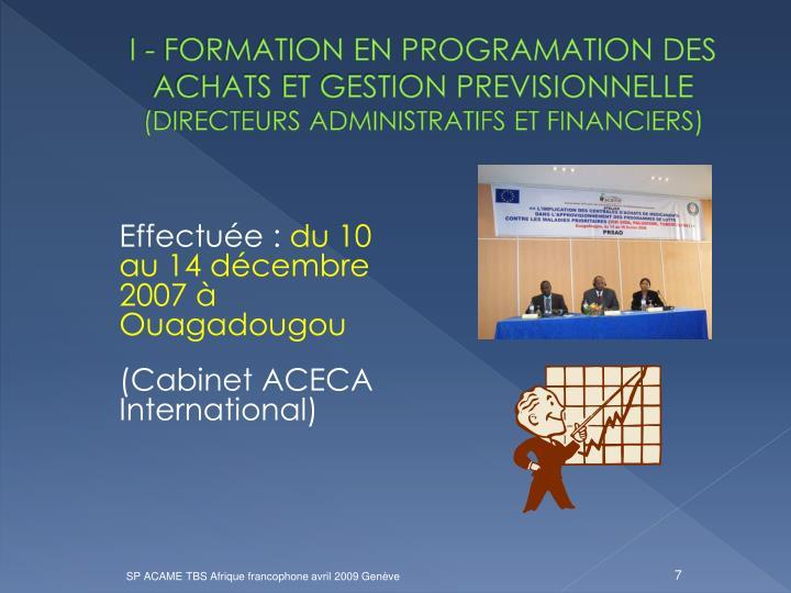 I - FORMATION EN PROGRAMATION DES ACHATS ET GESTION PREVISIONNELLE