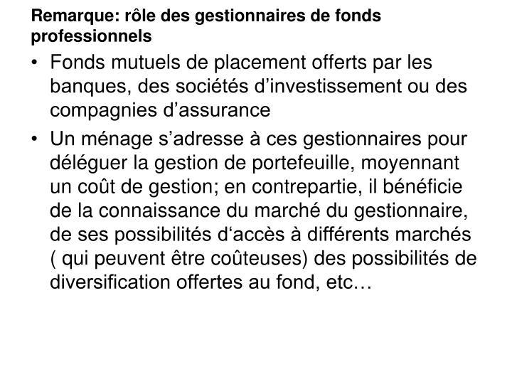 Remarque: rôle des gestionnaires de fonds professionnels