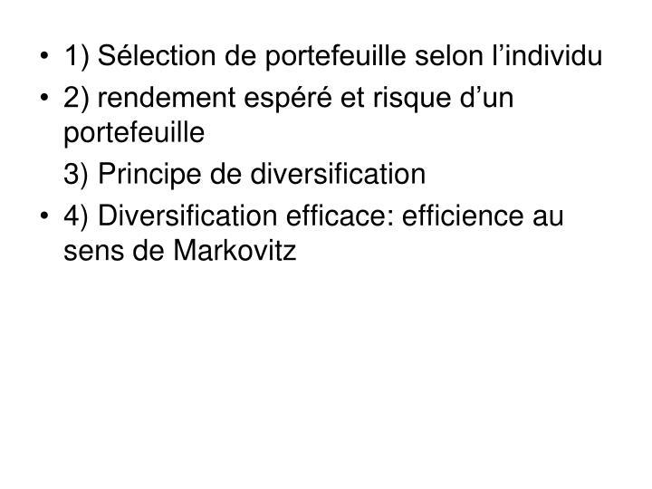 1) Sélection de portefeuille selon l'individu