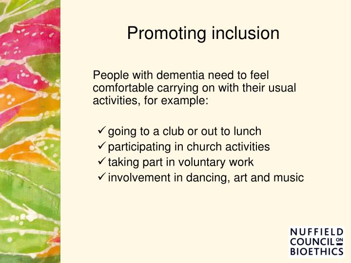 Promoting inclusion