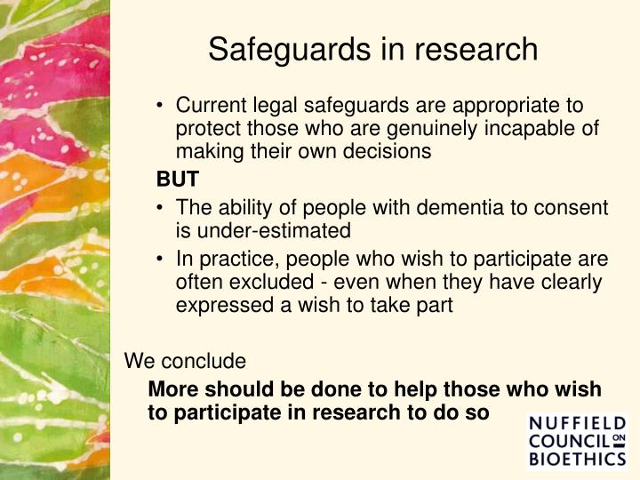 Safeguards in research