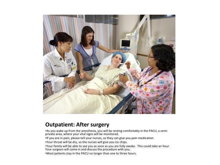 Outpatient: After surgery