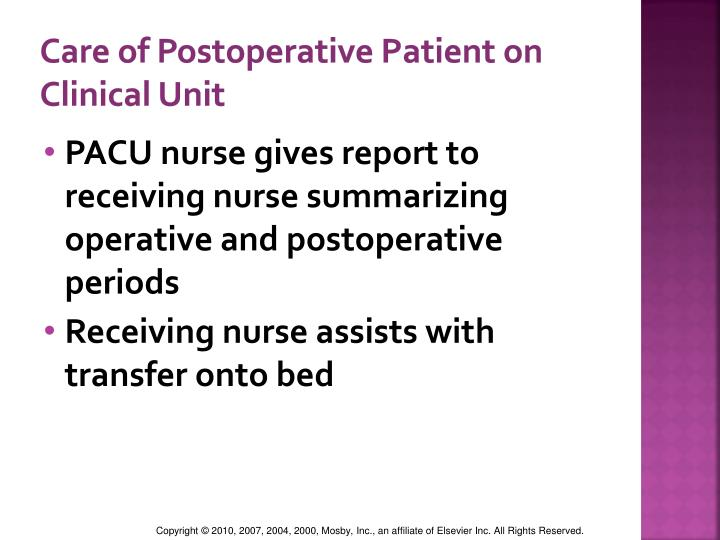 Care of Postoperative Patient on Clinical Unit