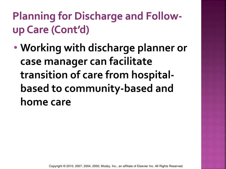 Planning for Discharge and Follow-up