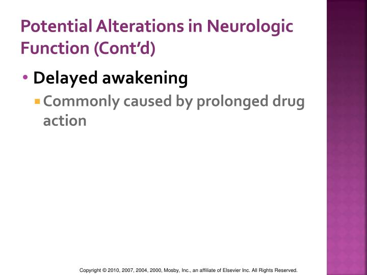 Potential Alterations in Neurologic