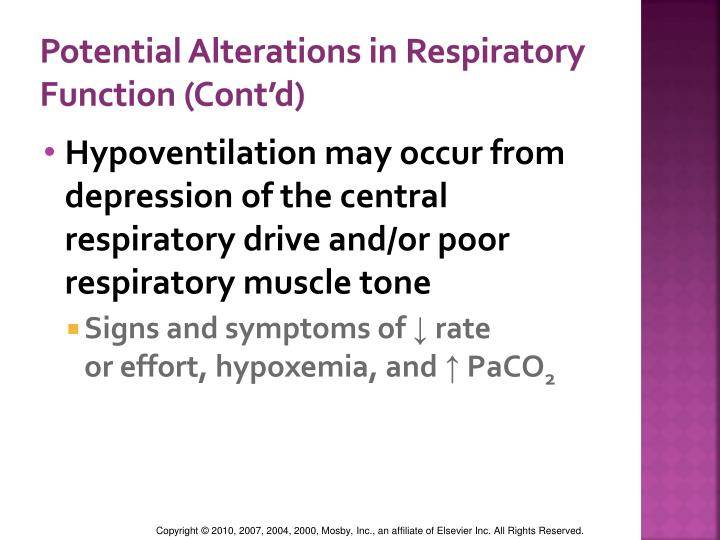 Potential Alterations in Respiratory